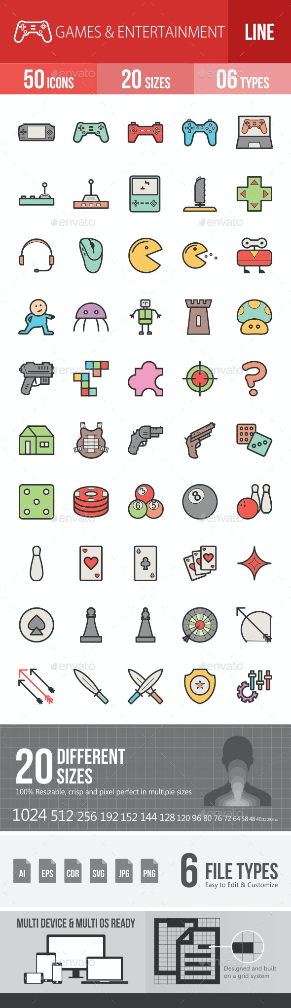 Games & Entertainment Filled Line Icons - Icons