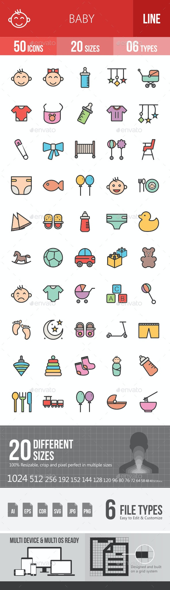 Baby Filled Line Icons
