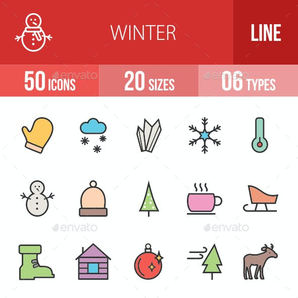 Winter Filled Line Icons