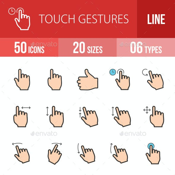 Touch Gestures Filled Line Icons