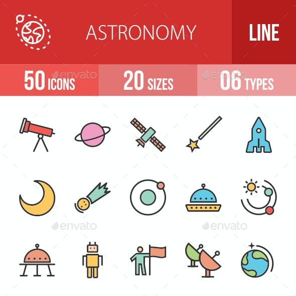 Astronomy Filled Line Icons