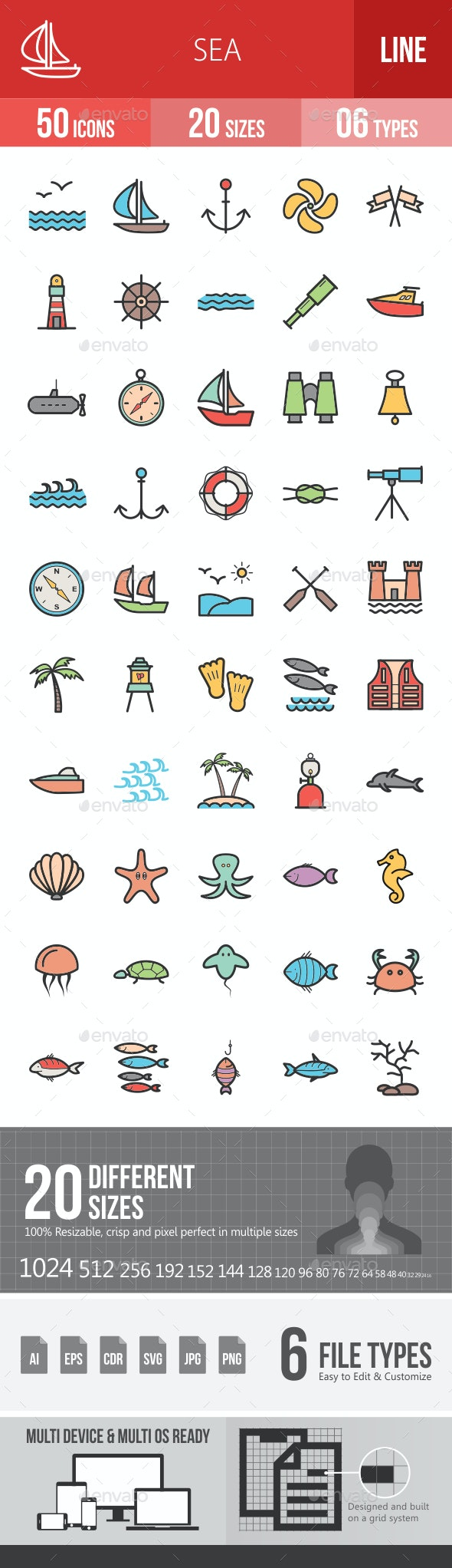 Sea Filled Line Icons - Icons