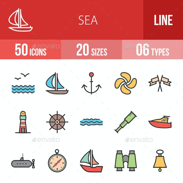 Sea Filled Line Icons