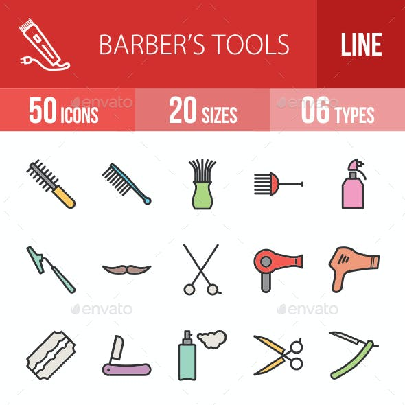 Barber's Tools Filled Line Icons