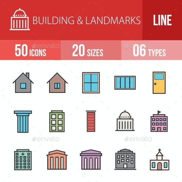 Buildings & Landmarks Filled Line Icons