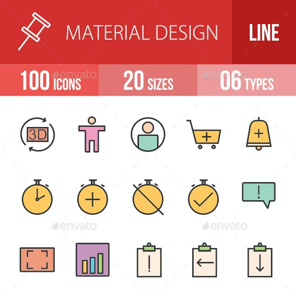 Material Design Filled Line Icons