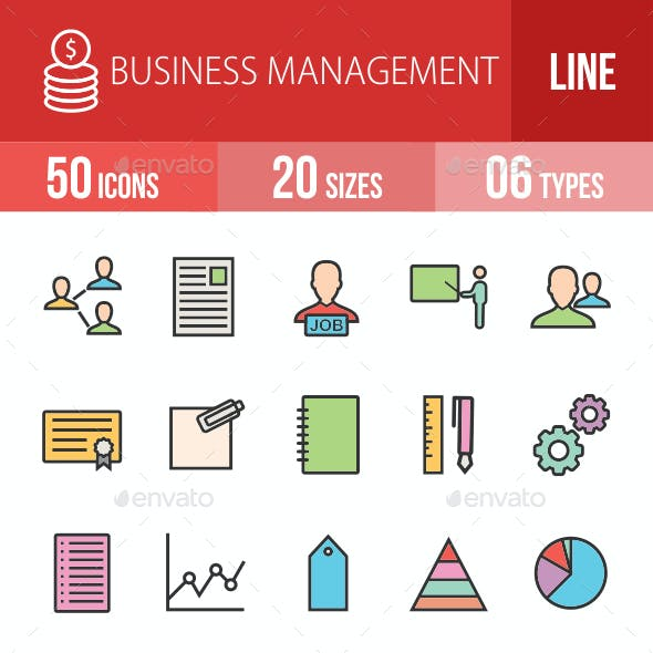 Business Management Filled Line Icons