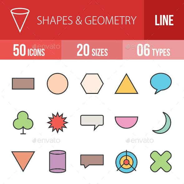 Shapes & Geometry Filled Line Icons