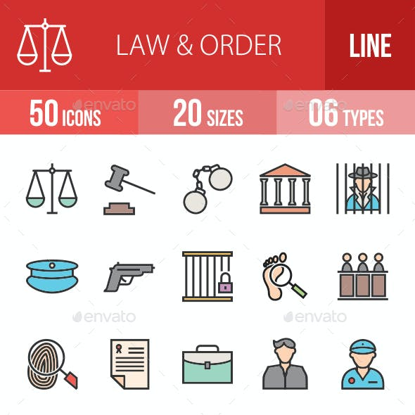 Law & Order Filled Line Icons