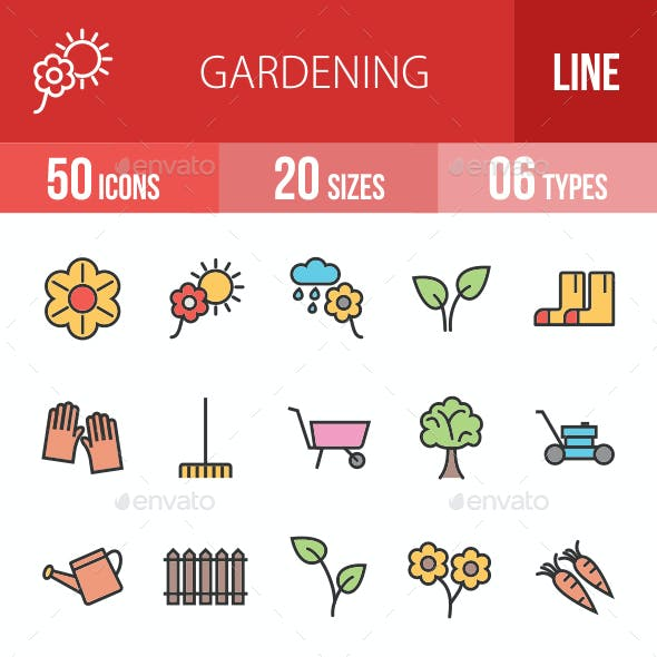 Gardening Filled Line Icons