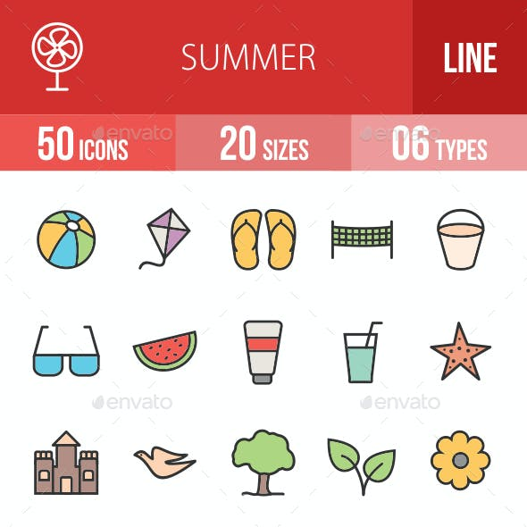 Summer Filled Line Icons