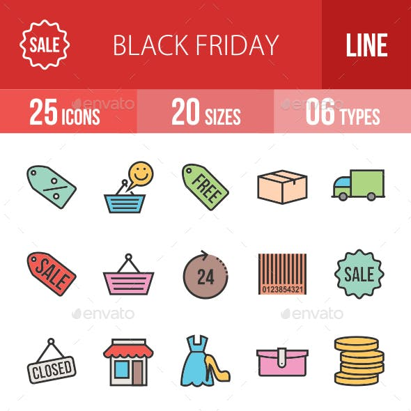 Black Friday Filled Line Icons