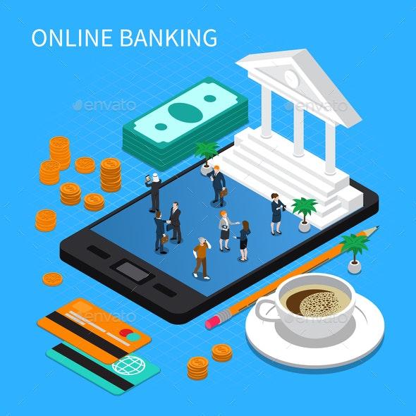 Online Banking Isometric Composition - Miscellaneous Vectors
