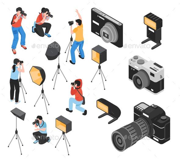 Professional Photographer Isometric Set - People Characters