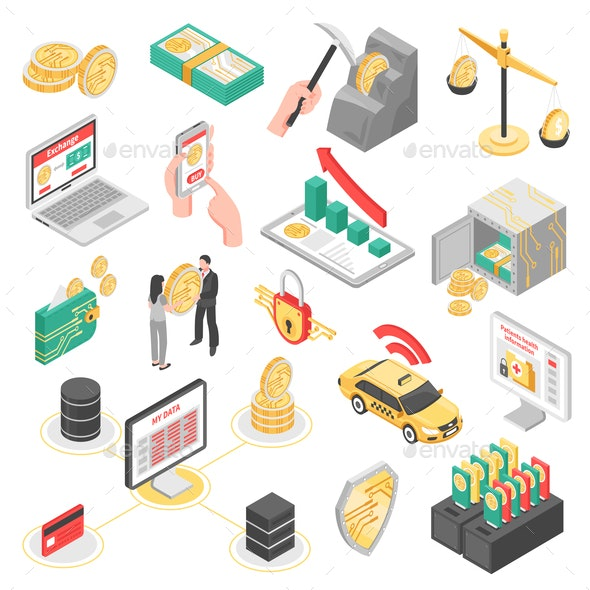 Crypto Currency Isometric Icons Set - Concepts Business