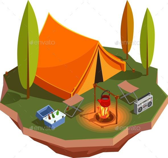 Barbeque Camping Isometric Composition - People Characters