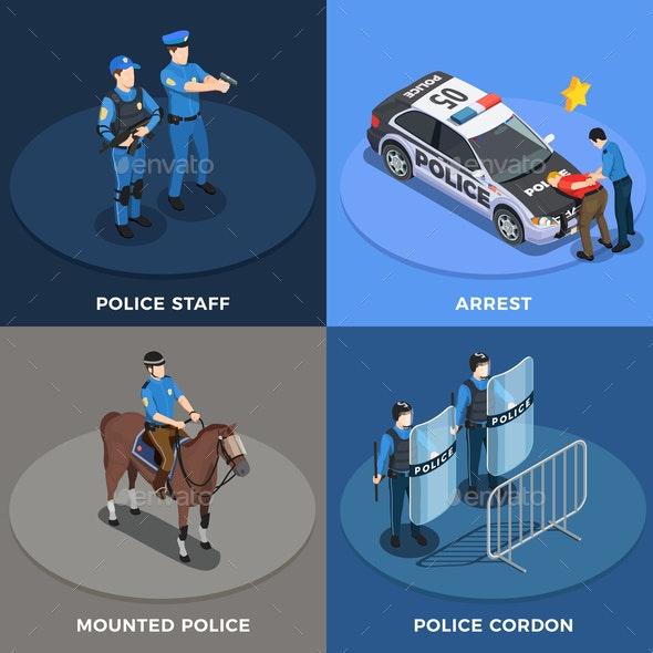 Police Concept Icons Set - Miscellaneous Vectors