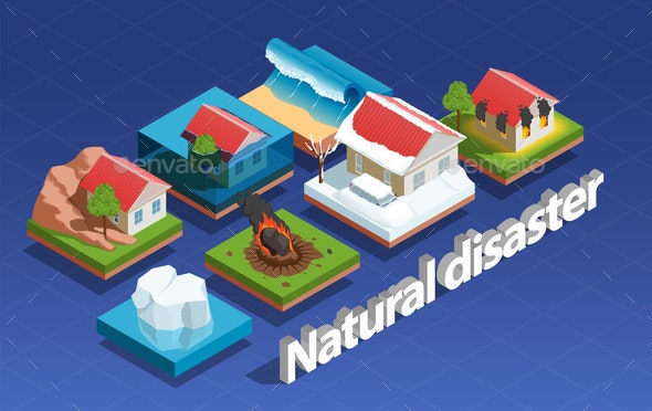 Natural Disaster Isometric Concept - People Characters