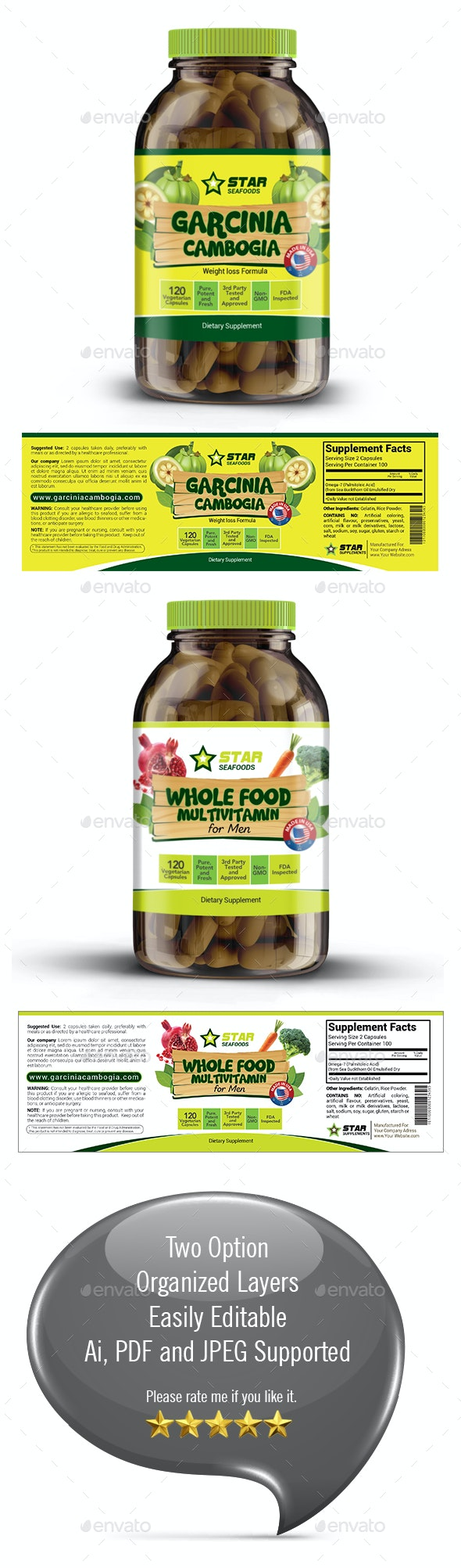 Vitamin Supplement Label Template - Packaging Print Templates