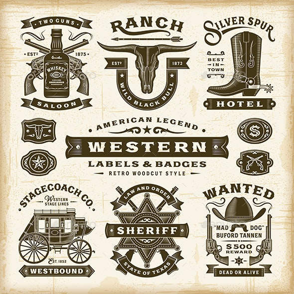 Vintage Western Labels and Badges Set - Decorative Symbols Decorative