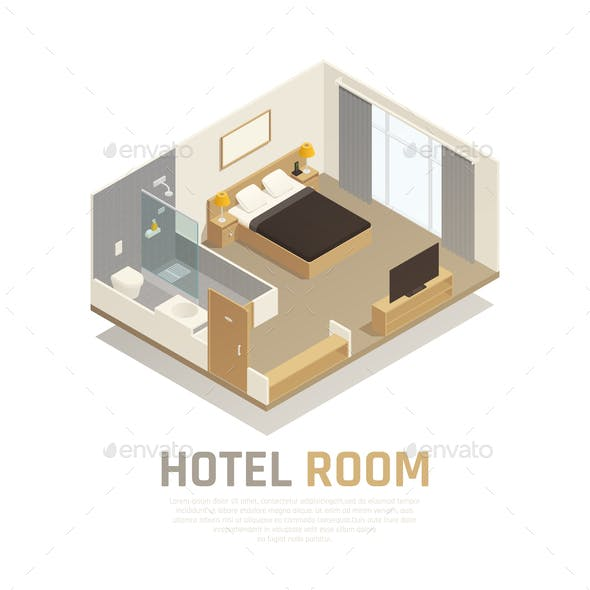 Hotel Room Isometric Composition