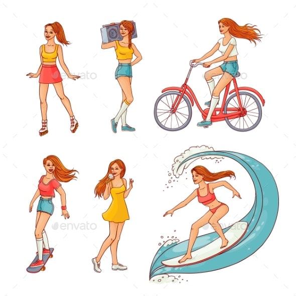 Vector Sketch Girls Summer Leisure Activity Set - People Characters