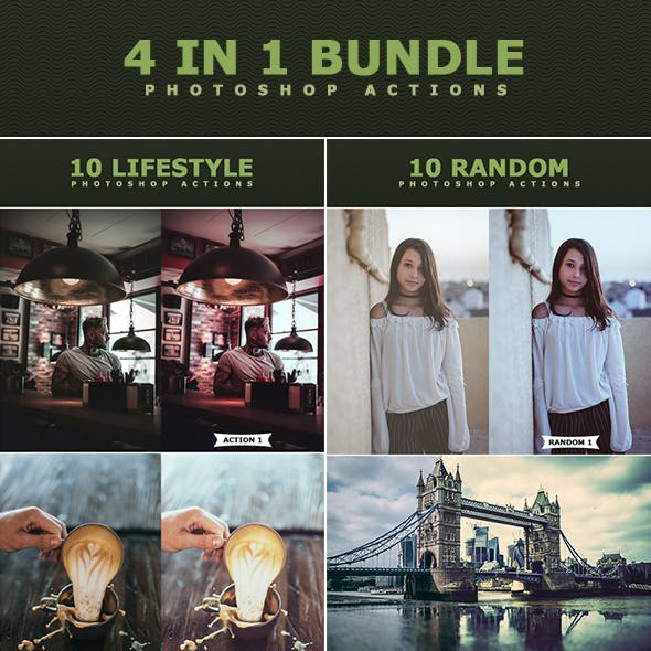 4 IN 1 Photoshop Actions Bundle