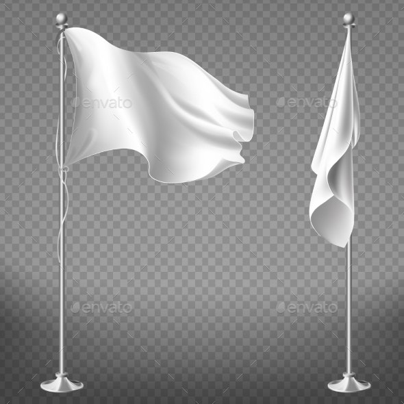 Vector Set of Blank White Flags on Steel Poles - Man-made Objects Objects