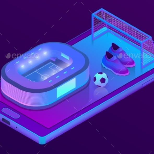 Vector Isometric Smartphone with Football