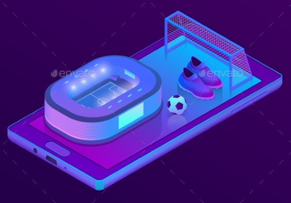 Vector Isometric Smartphone with Football - Computers Technology
