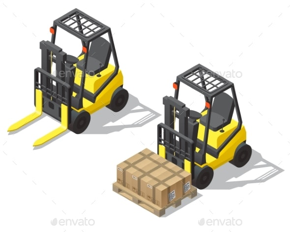 Vector Isometric Forklift for Storage - Man-made Objects Objects