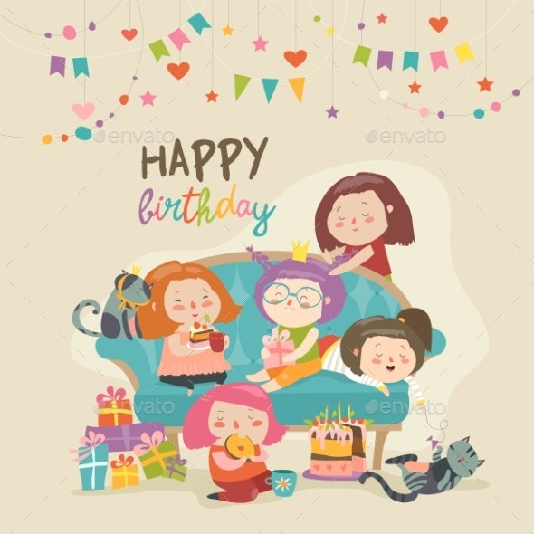 Group of Girls Celebrating Birthday - People Characters