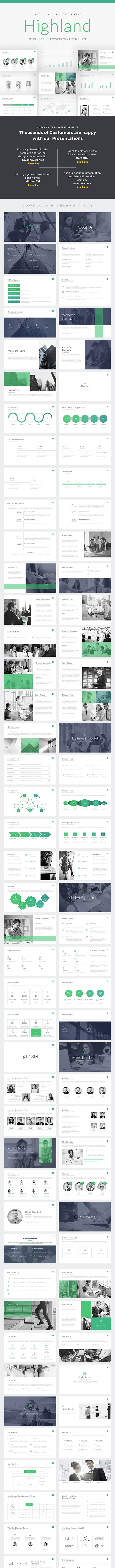 Highland Pitch Deck PowerPoint Template - PowerPoint Templates Presentation Templates