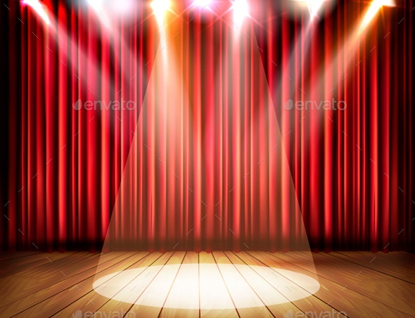 A Theater Stage With a Red Curtain And a Spotlight - Backgrounds Decorative