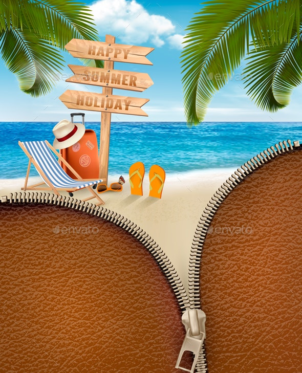 Tropical Island With Palms - Travel Conceptual