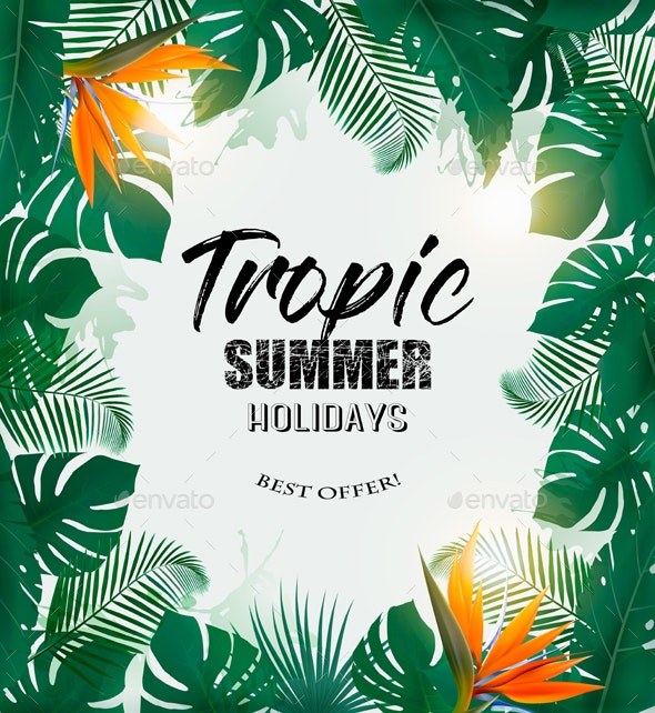 Summer Holiday Background With Tropical Plants - Flowers & Plants Nature