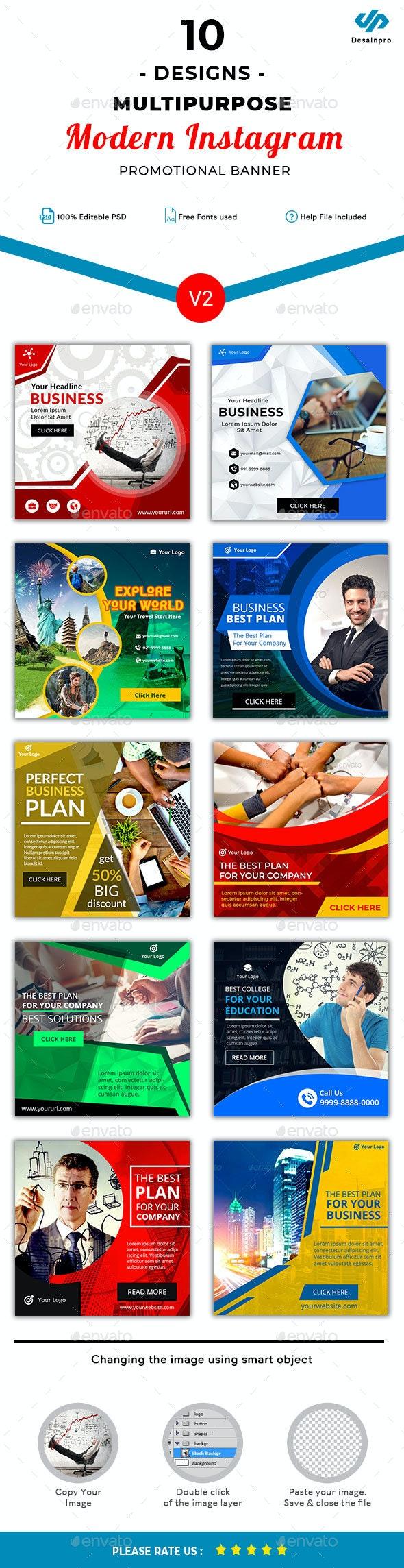 10 Multipurpose Instagram Template V2 - AR - Miscellaneous Social Media