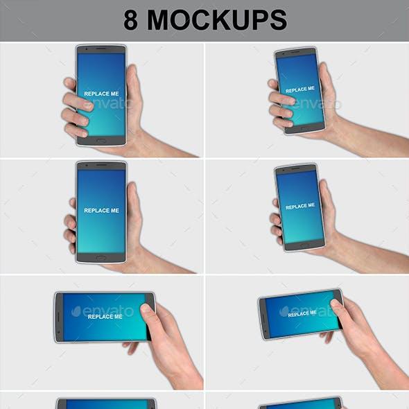 Smartphone In Hand 8 Mockups Pack