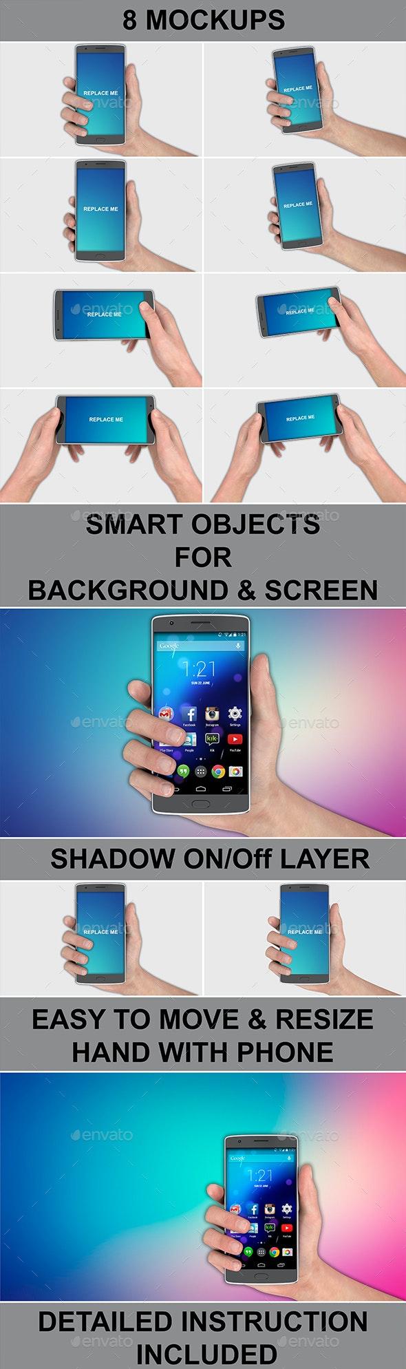 Smartphone In Hand 8 Mockups Pack - Mobile Displays