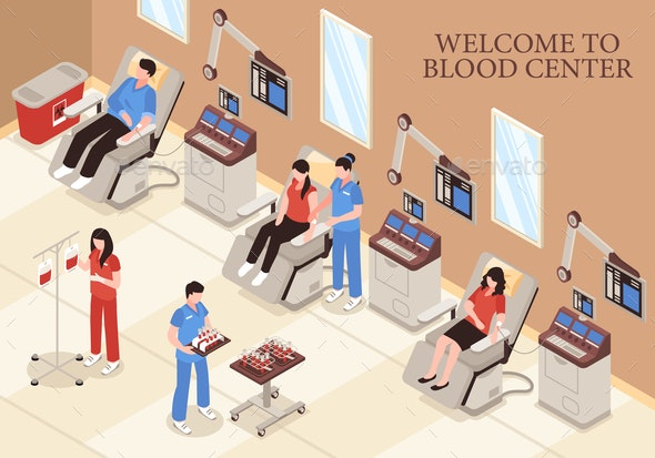 Blood Center Isometric Illustration - Health/Medicine Conceptual