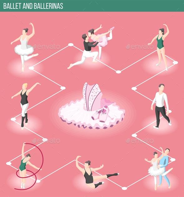 Ballet And Ballerinas Isometric Flowchart - Business Conceptual