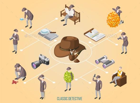 Classic Detective Isometric Flowchart - Business Conceptual