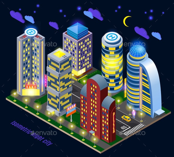 Night City Isometric Composition - Buildings Objects