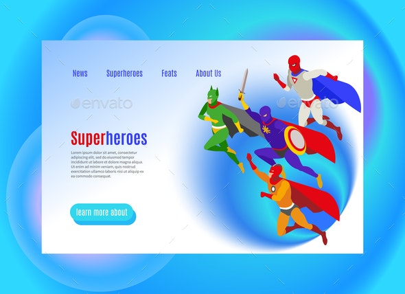 Super Heroes Isometric Web Page - People Characters