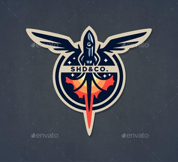 Retro Rocket Vector Badge - Retro Technology