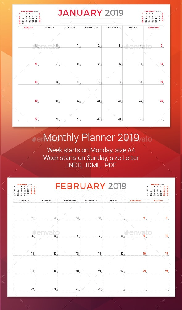 Monthly Planner 2019 - Calendars Stationery