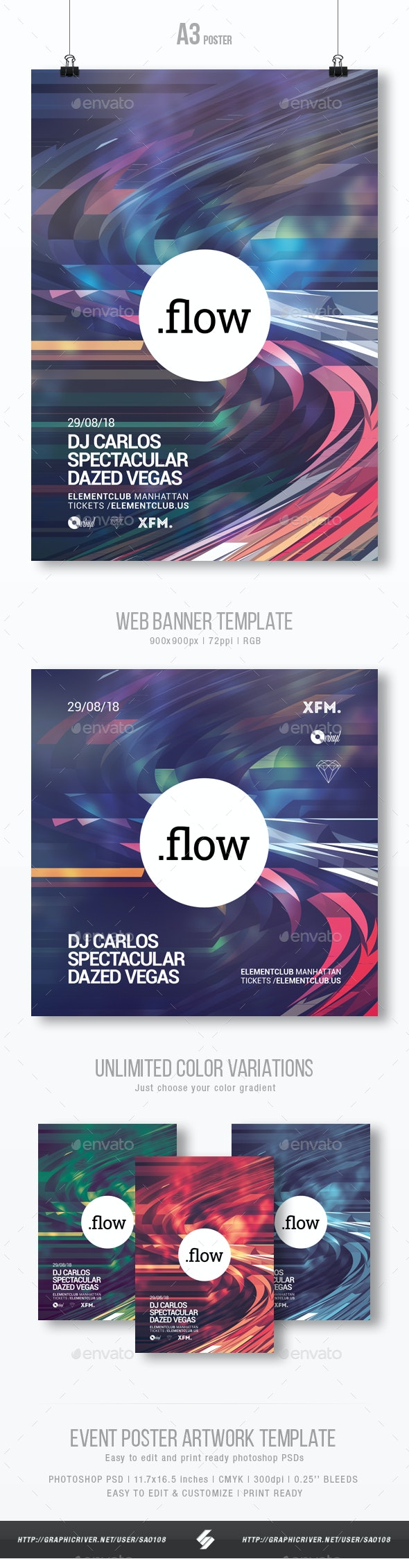 Flow - Minimal Party Flyer / Poster Artwork Template A3 - Clubs & Parties Events