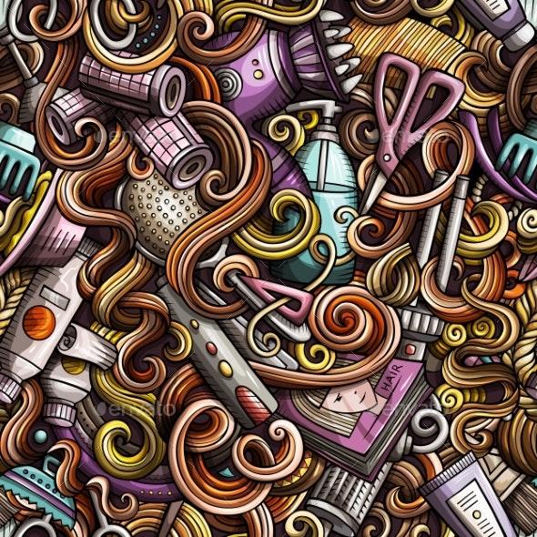 Cartoon Doodles Hand Drawn Hair Salon Seamless - Backgrounds Decorative