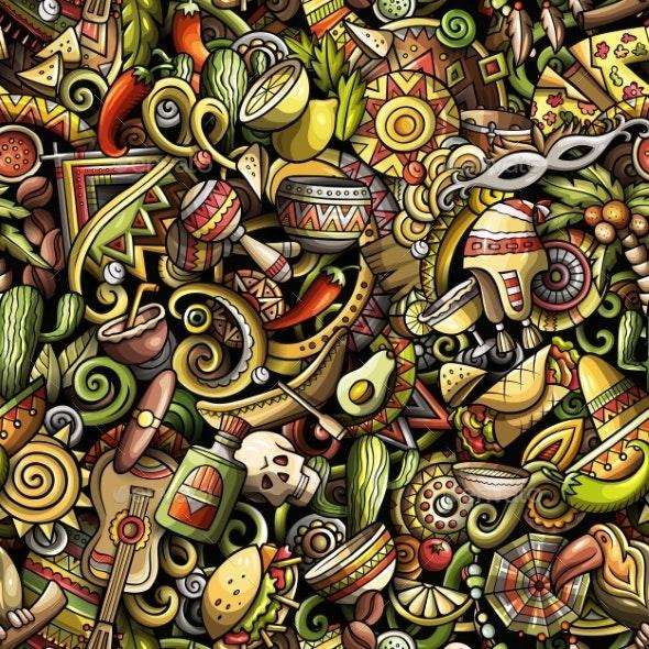 Cartoon Doodles Latin America Seamless - Travel Conceptual