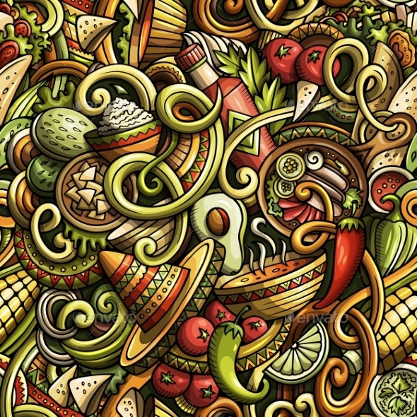 Cartoon Mexican Food Doodles Seamless Pattern - Food Objects